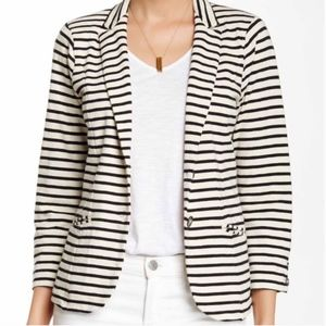 Lucky Brand Black & White Striped Blazer Small